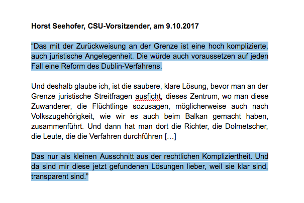 Horst Seehofer am 9. Oktober 2017