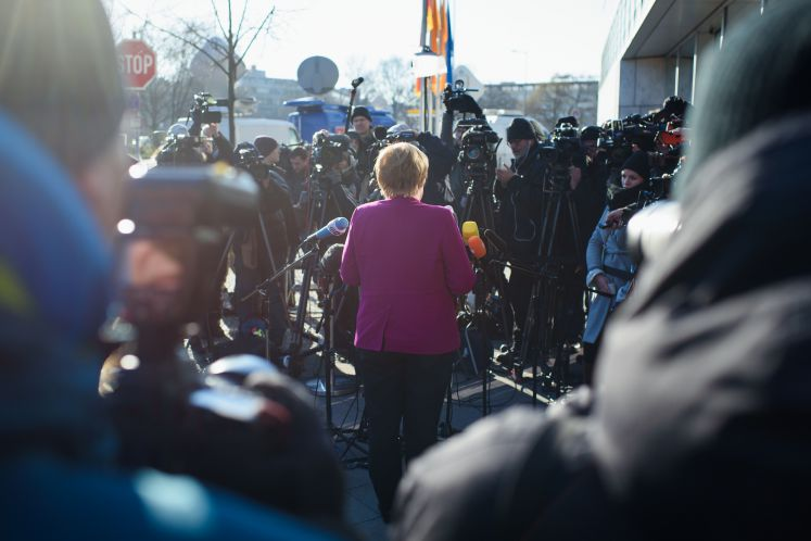 Angela Merkel vor Journalisten