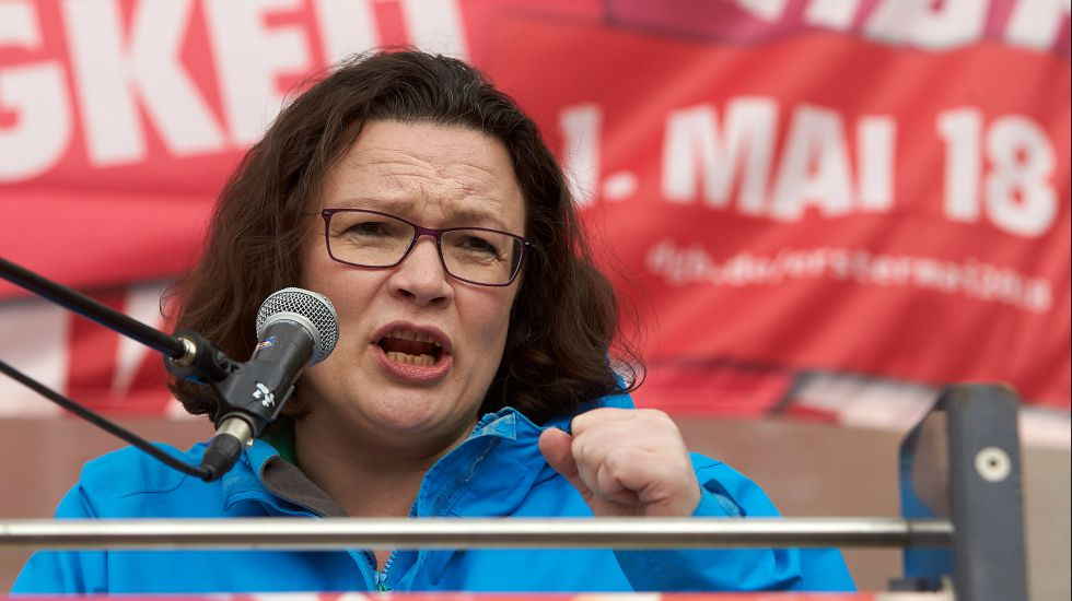 Andrea Nahles bei einer 1. Mai Rede.