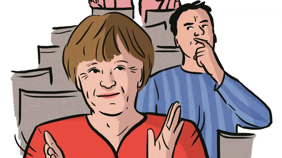 Illustration Angela Merkel im Theater
