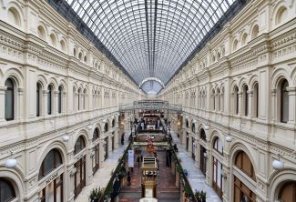 Blick in ein Shopping-Center in Moskau